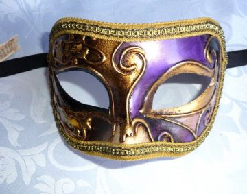 Genuine Venetian Purple & Gold half Mask (1)